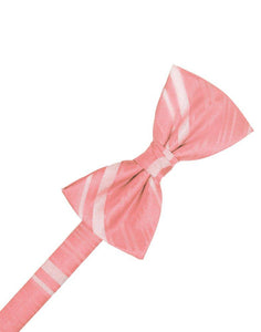 Coral Reef Striped Satin Bowtie - Tuxedo Club