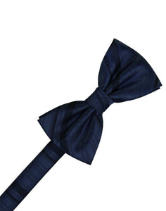 Midnight Blue Striped Satin Bowtie - Tuxedo Club