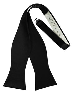 Black Self-Tie Solid Satin Bowtie - Tuxedo Club