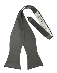 Charcoal Self-Tie Solid Satin Bowtie - Tuxedo Club