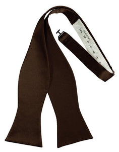 Chocolate Self-Tie Solid Satin Bowtie - Tuxedo Club