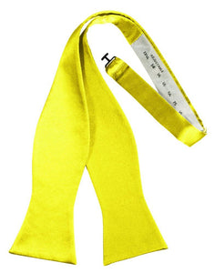 Lemon Self-Tie Solid Satin Bowtie - Tuxedo Club