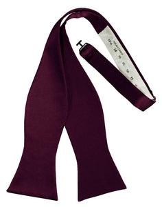 Wine Self-Tie Solid Satin Bowtie - Tuxedo Club