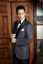 Load image into Gallery viewer, 'Bradford' Charcoal 1-Button Shawl Tuxedo - Super 150 - Tuxedo Club