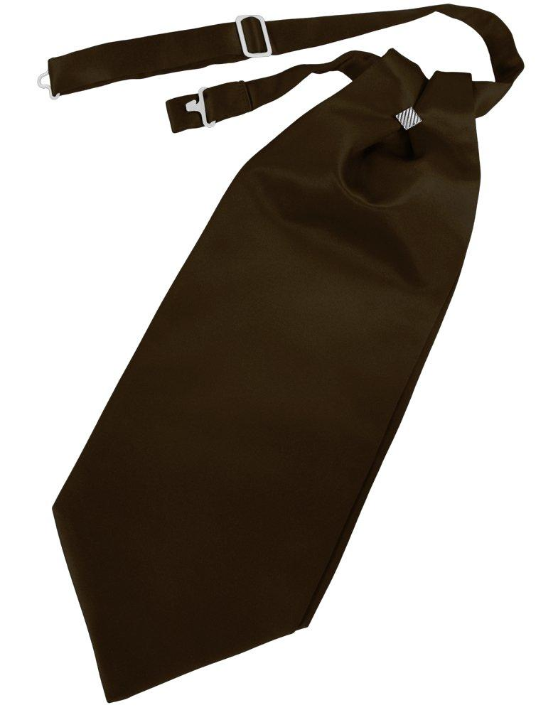Chocolate Solid Satin Cravat - Tuxedo Club
