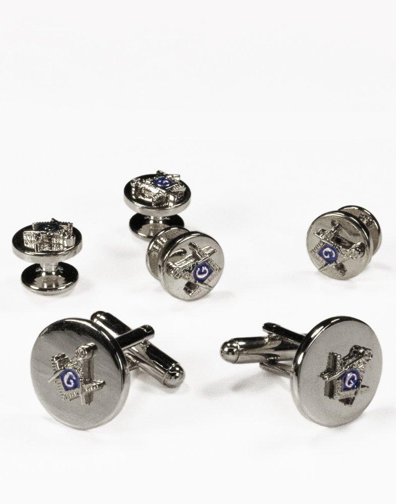 Mason Cufflink and Stud Set in Silver - Tuxedo Club