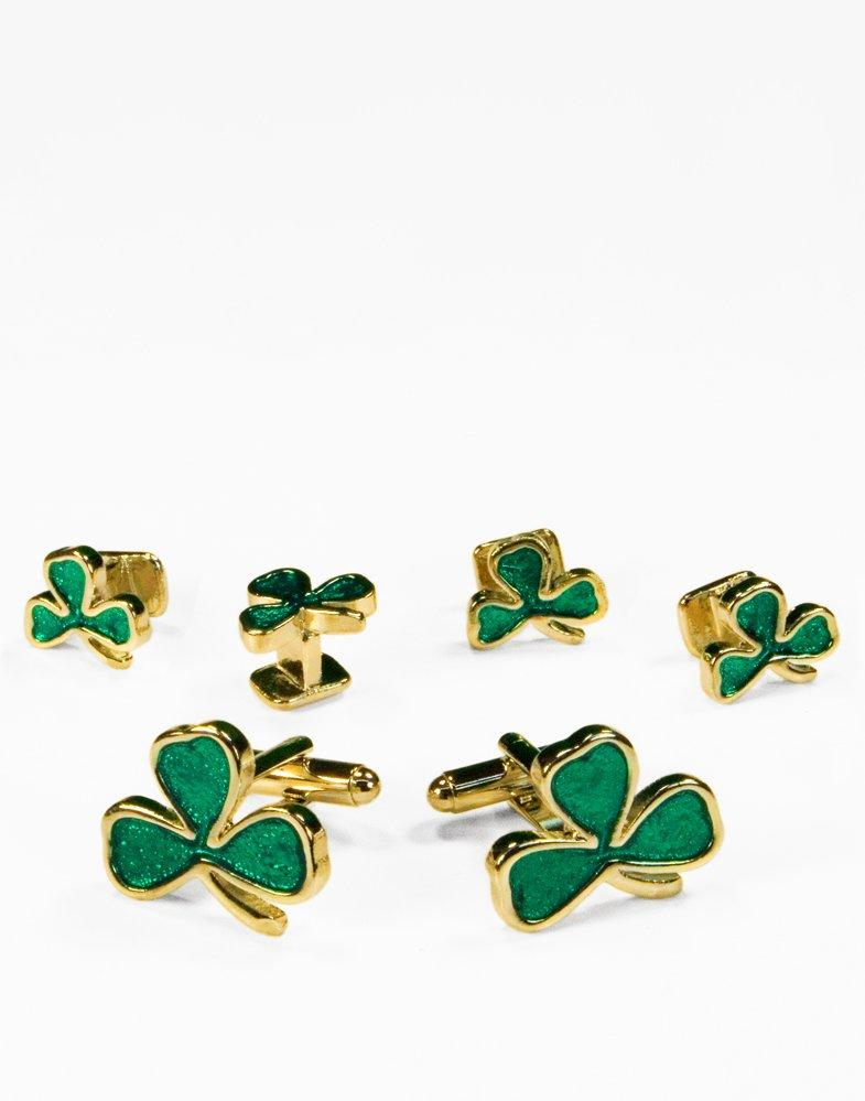 Irish Shamrock in Gold Cufflink and Stud Set - Tuxedo Club