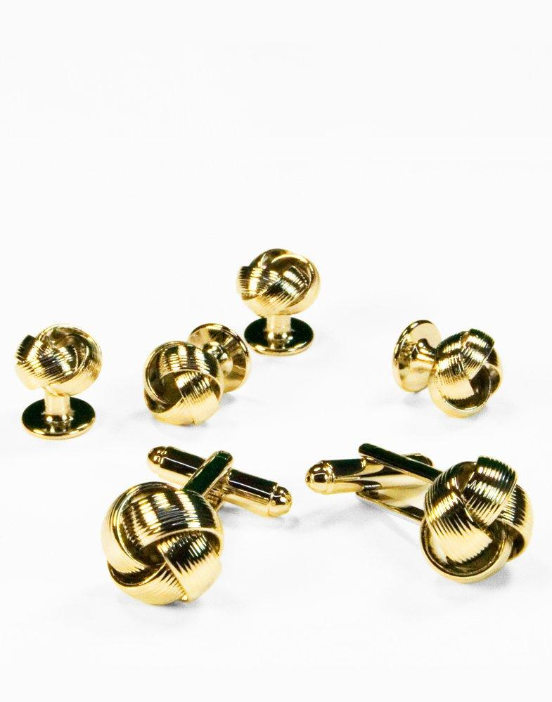 Love Knot Cufflink and Stud set in Gold - Tuxedo Club