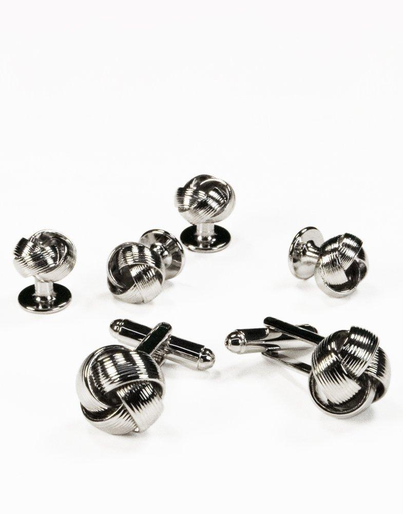 Love Knot Cufflink and Stud set in Silver - Tuxedo Club