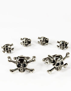 Skull and Crossbones Cufflink and Stud Set in Silver - Tuxedo Club