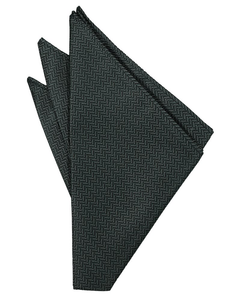 Asphalt Herringbone Pocket Square - Tuxedo Club