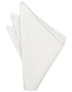 Diamond White Herringbone Pocket Square - Tuxedo Club