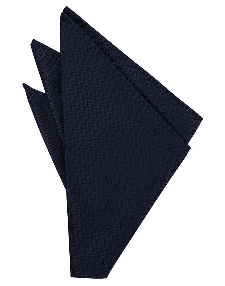 Navy Herringbone Pocket Square - Tuxedo Club