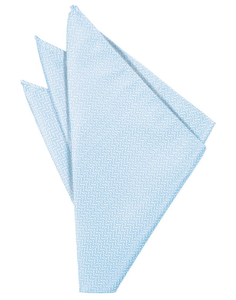 Powder Blue Herringbone Pocket Square - Tuxedo Club