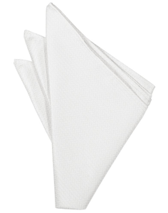 Pure White Herringbone Pocket Square - Tuxedo Club