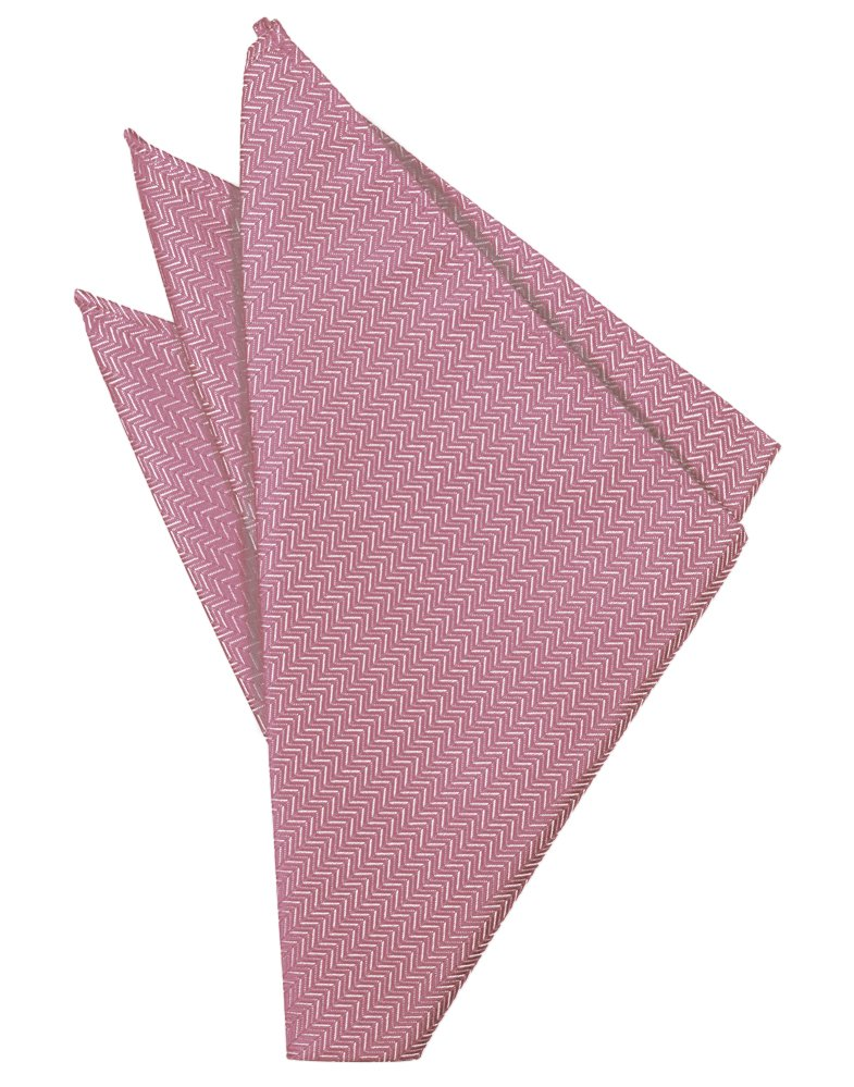 Rose Herringbone Pocket Square - Tuxedo Club