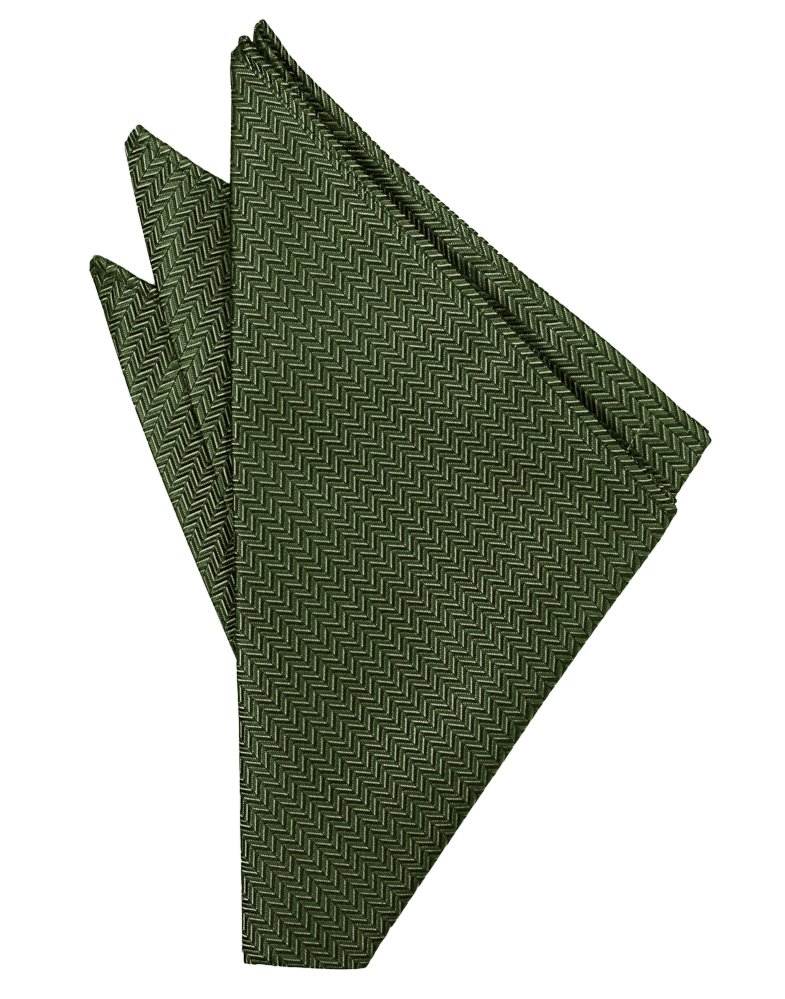 Sage Herringbone Pocket Square - Tuxedo Club