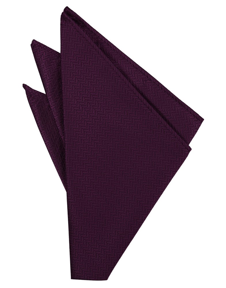 Sangria Herringbone Pocket Square - Tuxedo Club
