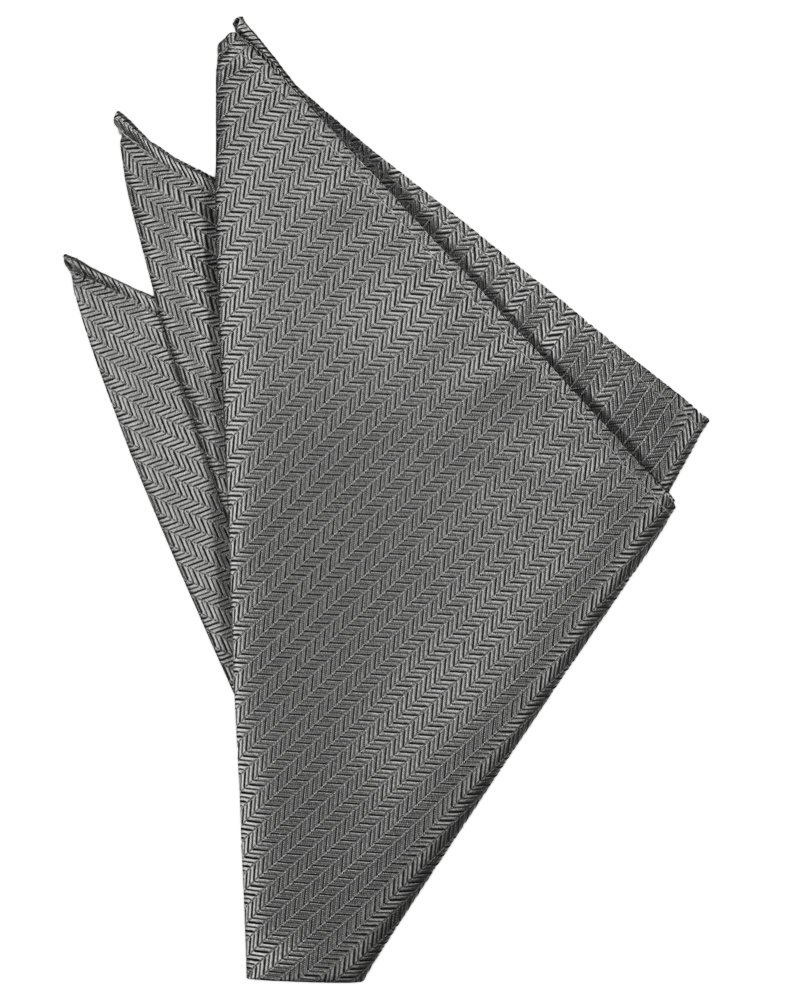 Silver Herringbone Pocket Square - Tuxedo Club