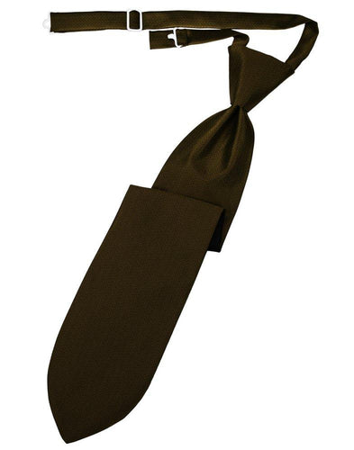 Chocolate Herringbone Long Tie - Tuxedo Club