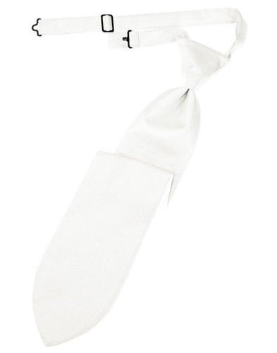 Diamond White Herringbone Long Tie - Tuxedo Club