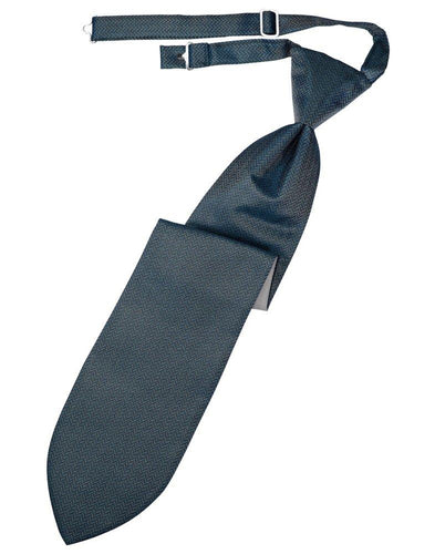 Haze Blue Herringbone Long Tie - Tuxedo Club