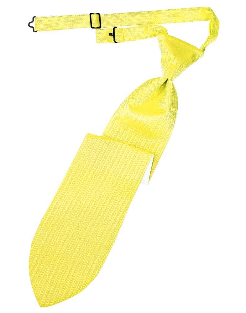 Lemon Herringbone Long Tie - Tuxedo Club