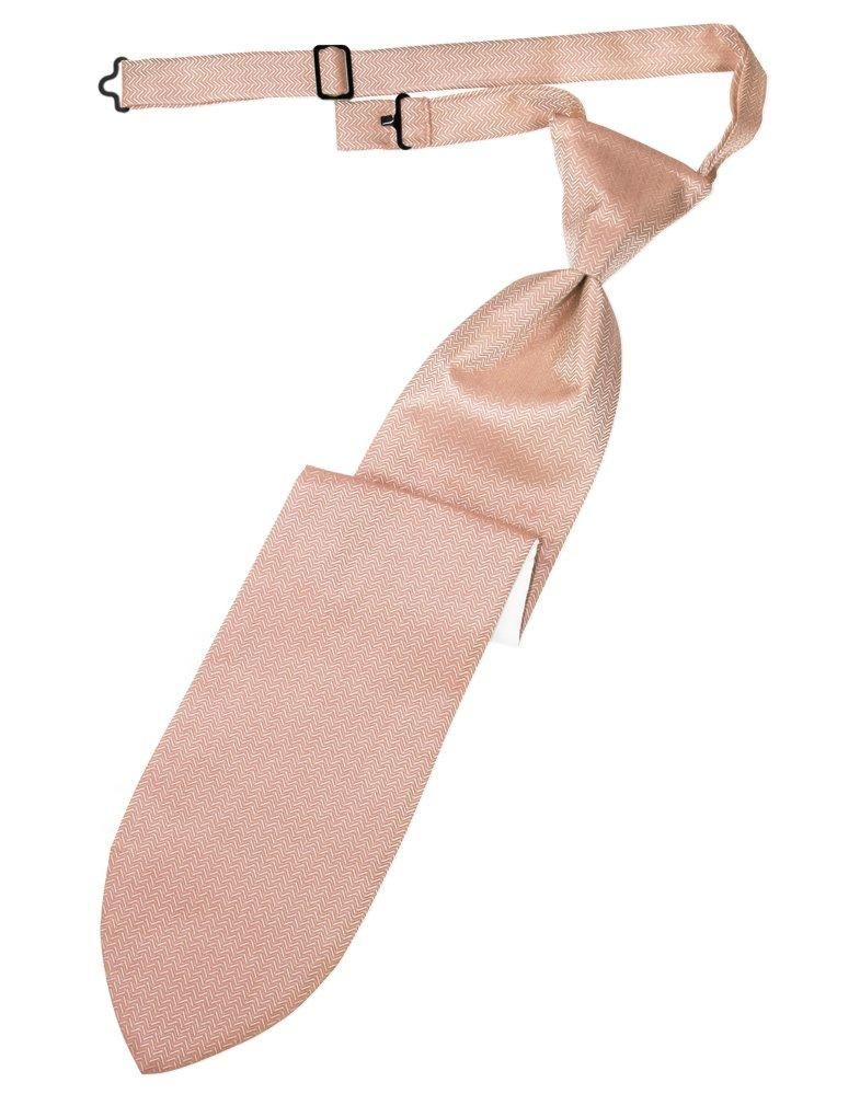 Peach Herringbone Long Tie - Tuxedo Club