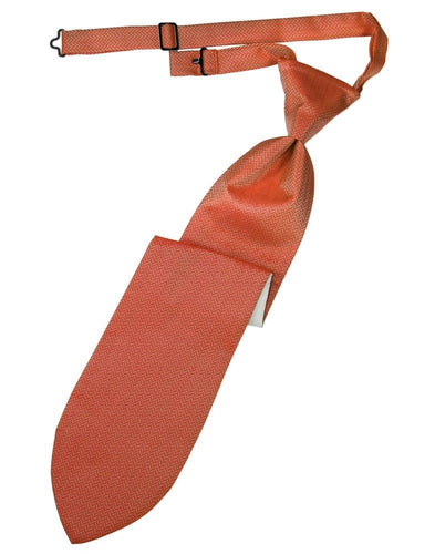 Persimmon Herringbone Long Tie - Tuxedo Club