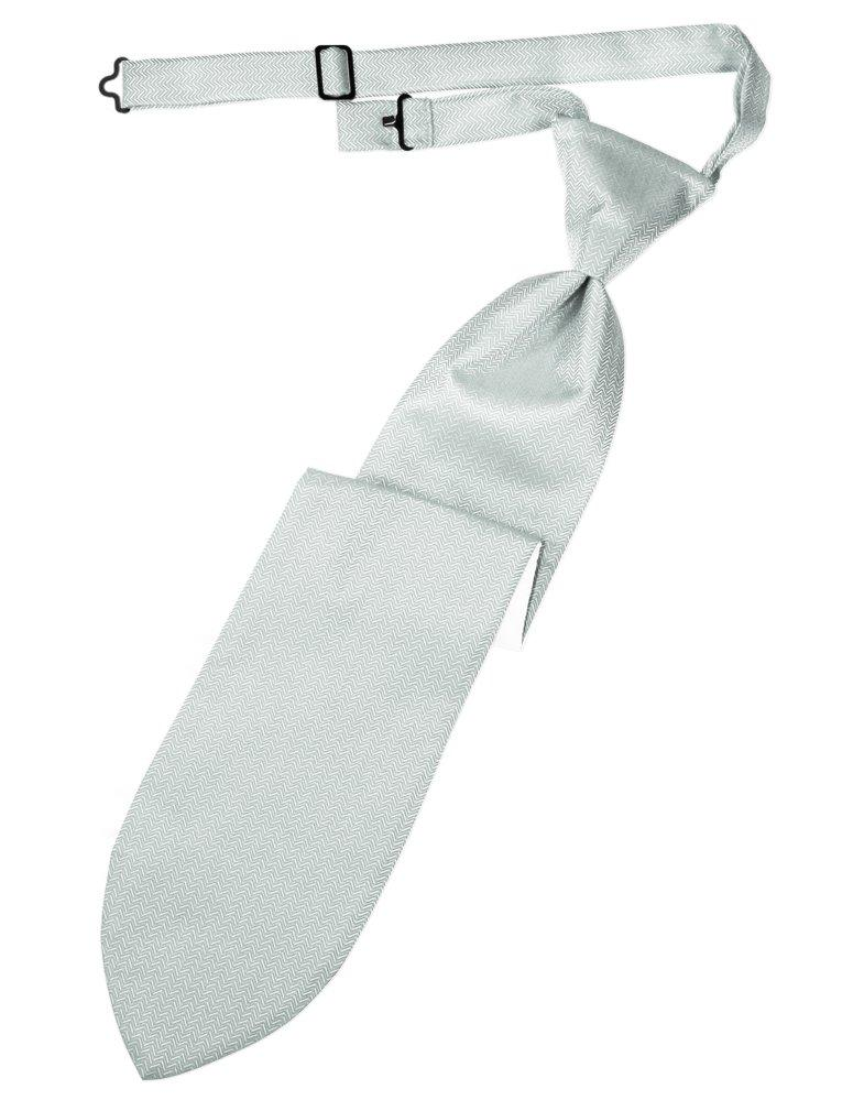 Platinum Herringbone Long Tie - Tuxedo Club