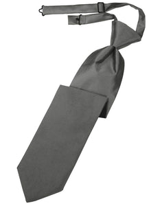 Charcoal Solid Satin Long Tie - Tuxedo Club
