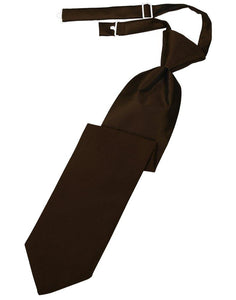 Chocolate Solid Satin Long Tie - Tuxedo Club