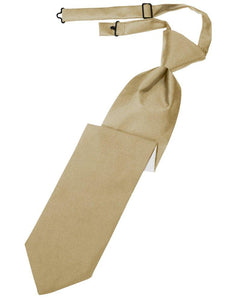 Golden Solid Satin Long Tie - Tuxedo Club