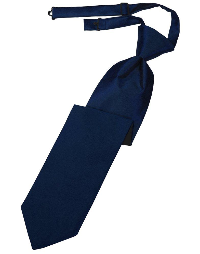 Marine Solid Satin Long Tie - Tuxedo Club