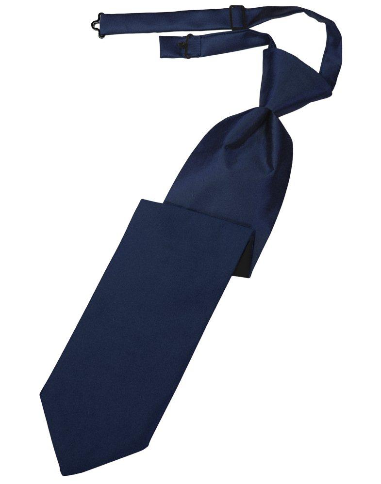 Peacock Solid Satin Long Tie - Tuxedo Club