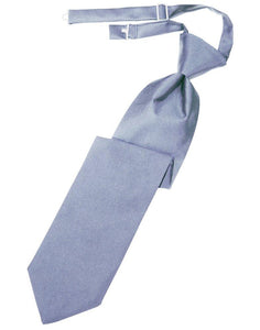 Periwinkle Solid Satin Long Tie - Tuxedo Club