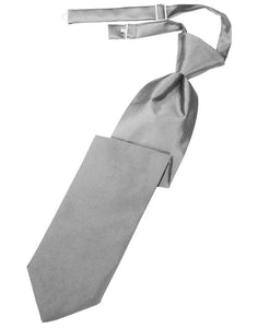 Silver Solid Satin Long Tie - Tuxedo Club