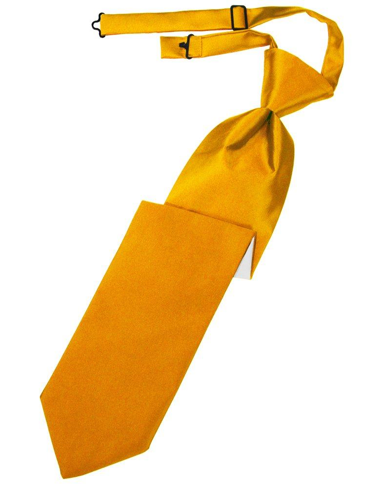 Tangerine Solid Satin Long Tie - Tuxedo Club