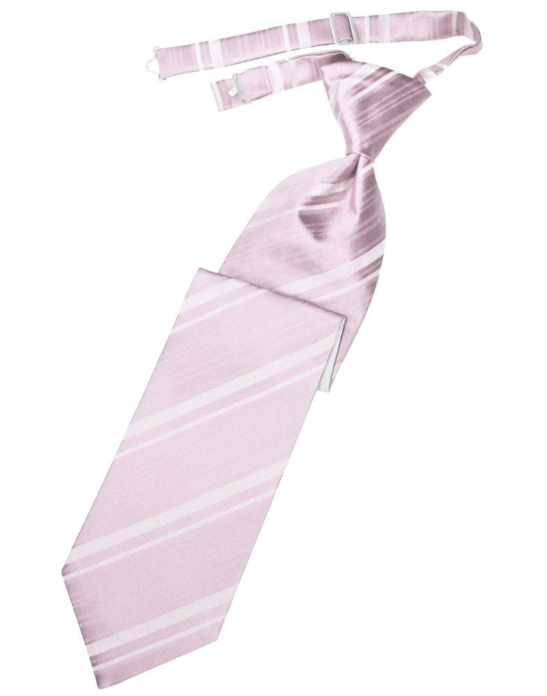 Blush Striped Satin Long Tie - Tuxedo Club