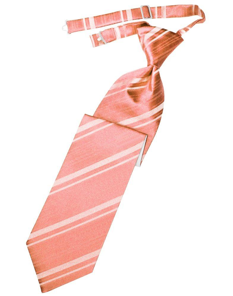 Coral Reef Striped Satin Long Tie - Tuxedo Club