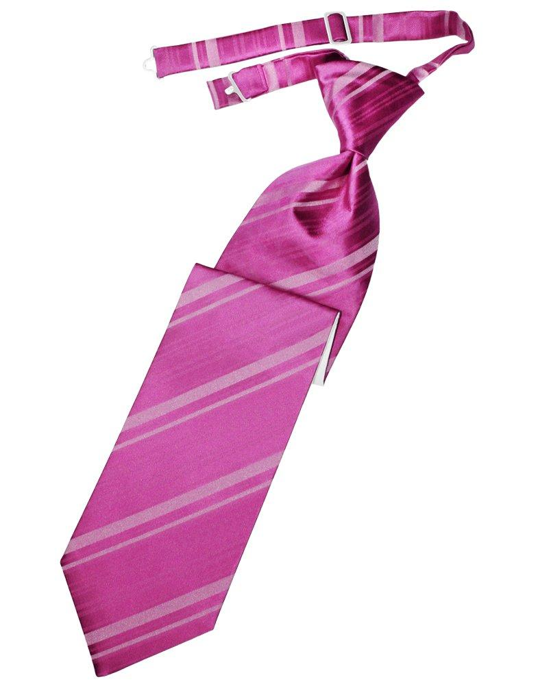Fuchsia Striped Satin Long Tie - Tuxedo Club