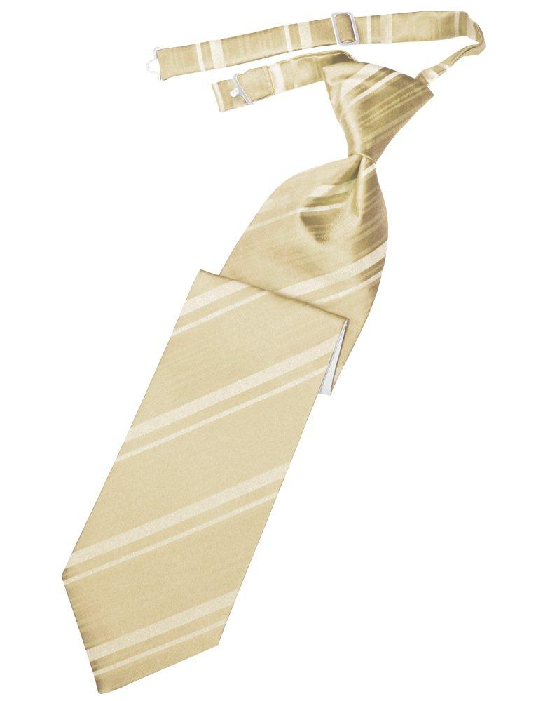 Golden Striped Satin Long Tie - Tuxedo Club