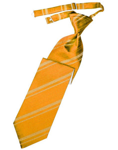 Mandarin Striped Satin Long Tie - Tuxedo Club