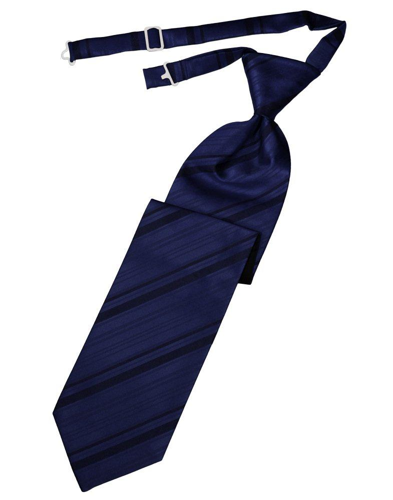 Marine Striped Satin Long Tie - Tuxedo Club