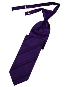 Purple Striped Satin Long Tie - Tuxedo Club