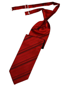 Scarlet Striped Satin Long Tie - Tuxedo Club