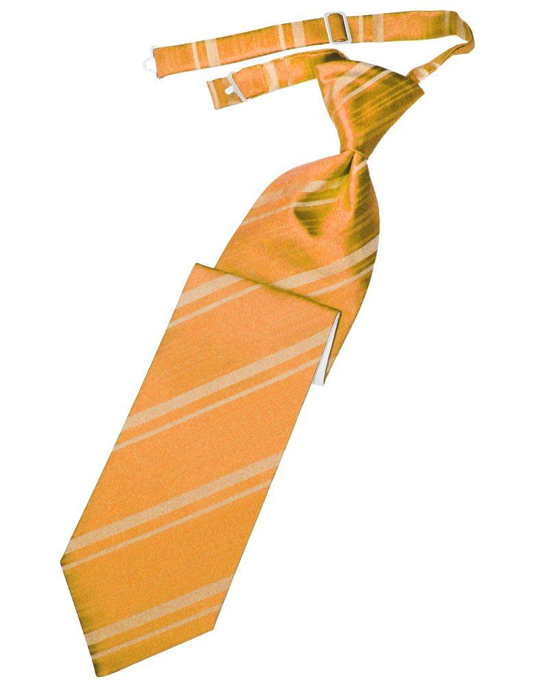 Tangerine Striped Satin Long Tie - Tuxedo Club