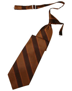 Cinnamon Venetian Stripe Long Tie - Tuxedo Club