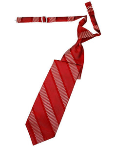 Red Venetian Stripe Long Tie - Tuxedo Club