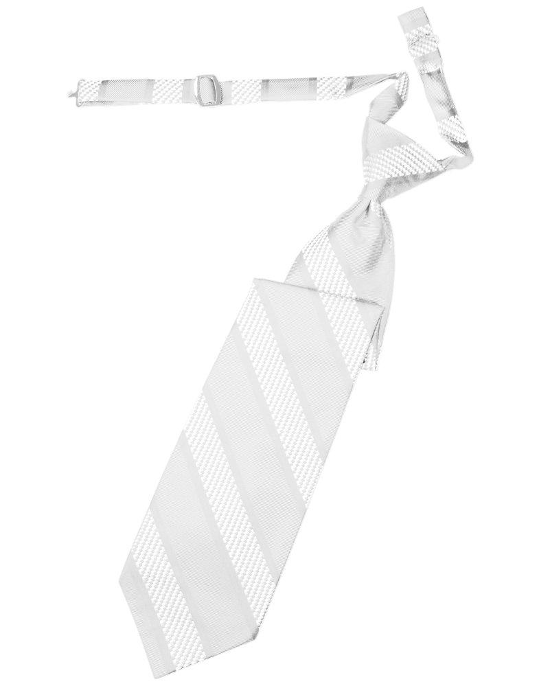 White Venetian Stripe Long Tie - Tuxedo Club